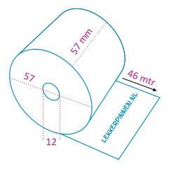 Thermorollen 57x57x12, 50 rollen per doos, thermisch papier